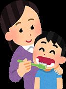 こどもの歯をみがく母親のイラスト